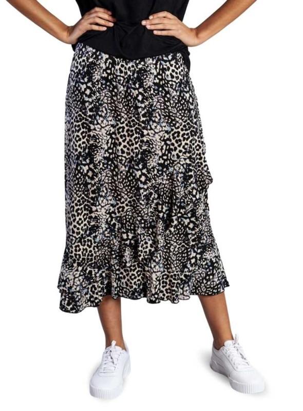 Str. S & XXL Bambus nederdel Leopard
