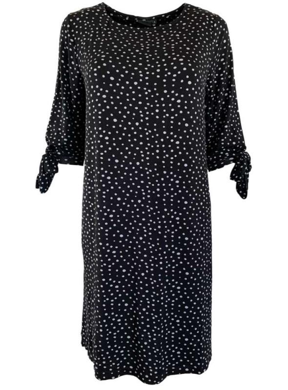 Str. S & M Bambus kjole sort med grå prikker