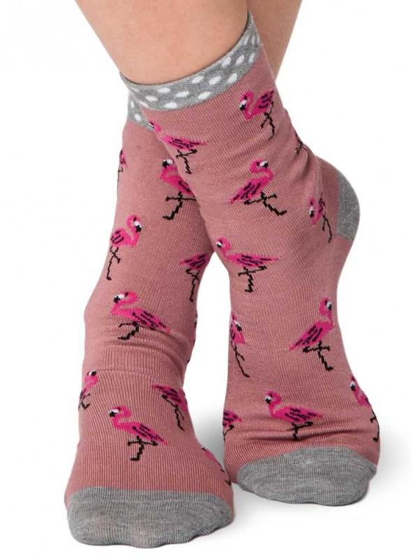 Bambus-strømper Pink Flamingo, økologisk bomuld, håndketlet tå, Thought