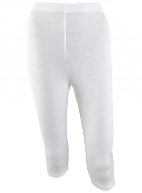 Str. S RESTSALG! Bambus capri leggings hvide tights fra Festival