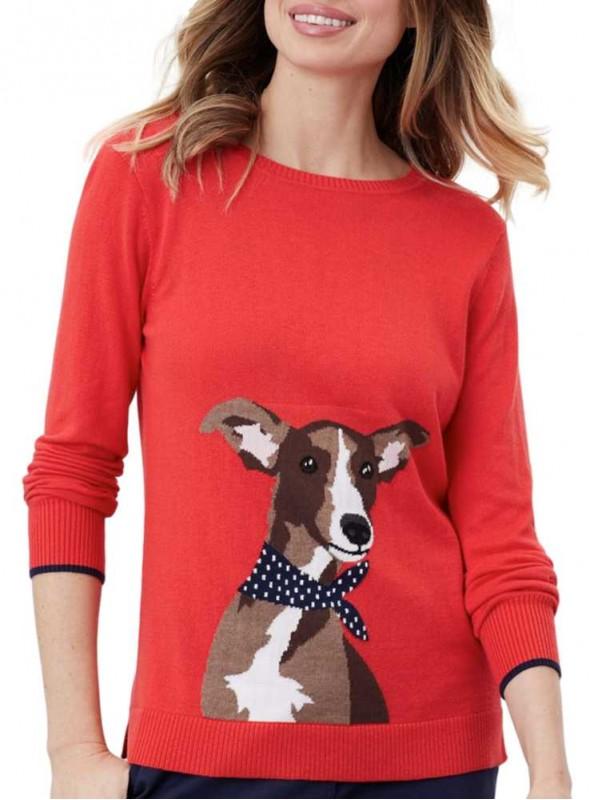 Strik sweater Miranda med hund fra Joules