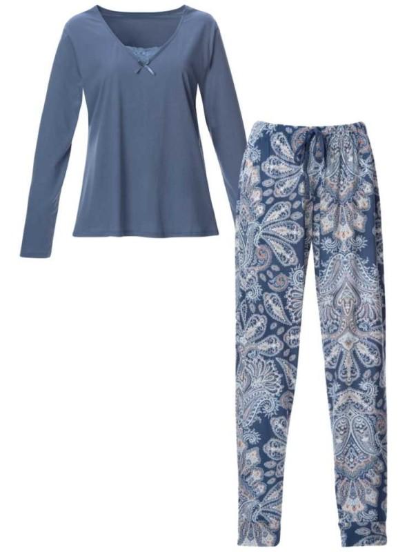 Pyjamas-sæt bambus-jersey 2 dele langærmet top og mønstrede bukser