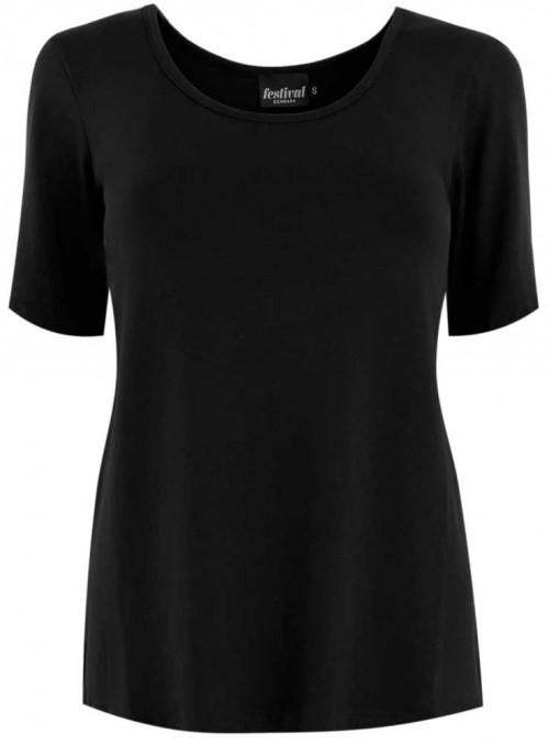 Bambus T-shirt med korte ærmer sort fra Festival