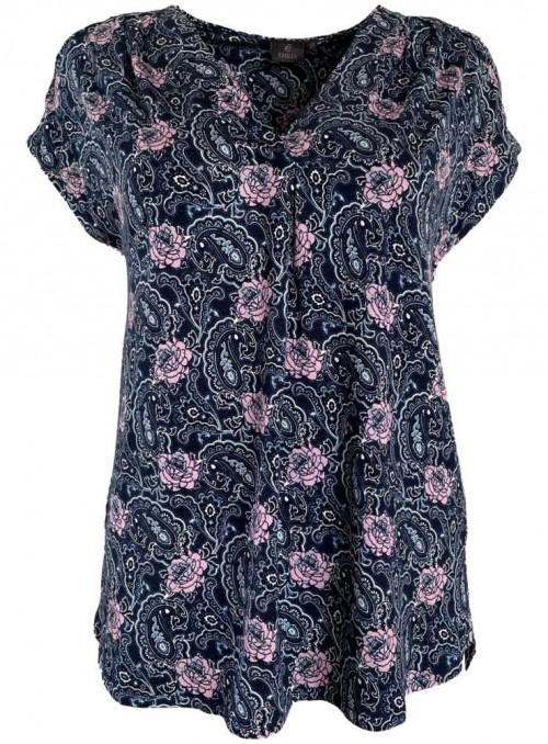 Bambus bluse blå og rosa mønster, kortærmet