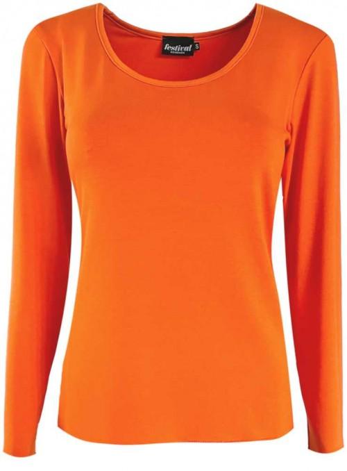 Bambus T-shirt med lange ærmer orange fra Festival