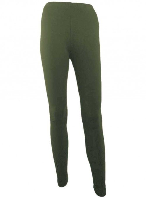 Bambus leggings str. XXL-4XL armygrønne tights fra Festival