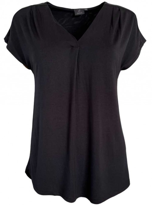 Bambus bluse sort, med vidde og korte ærmer