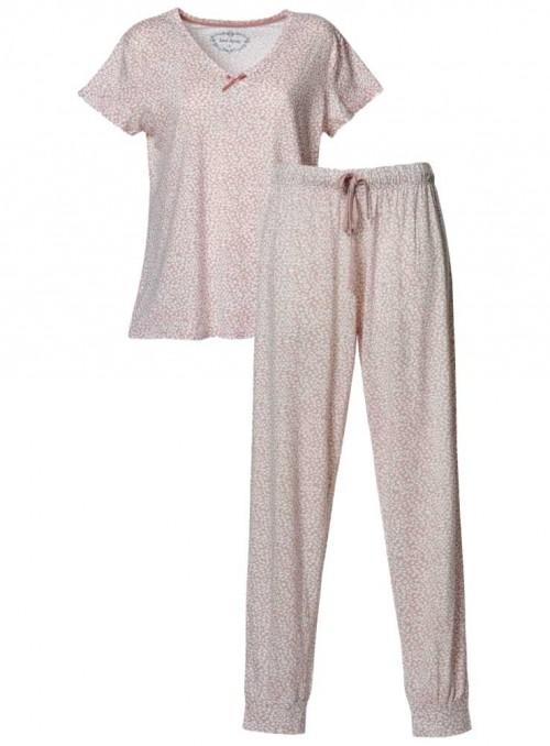 Pyjamas-sæt bambus-jersey 2 dele mønstret top og bukser