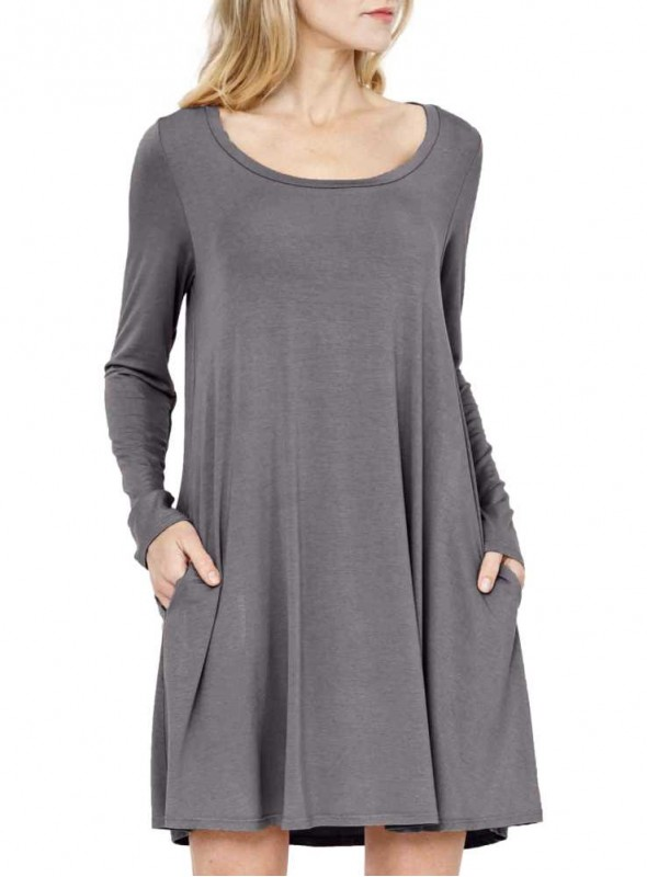 Bambus kjole-tunika langærmet Easy Dress Grey