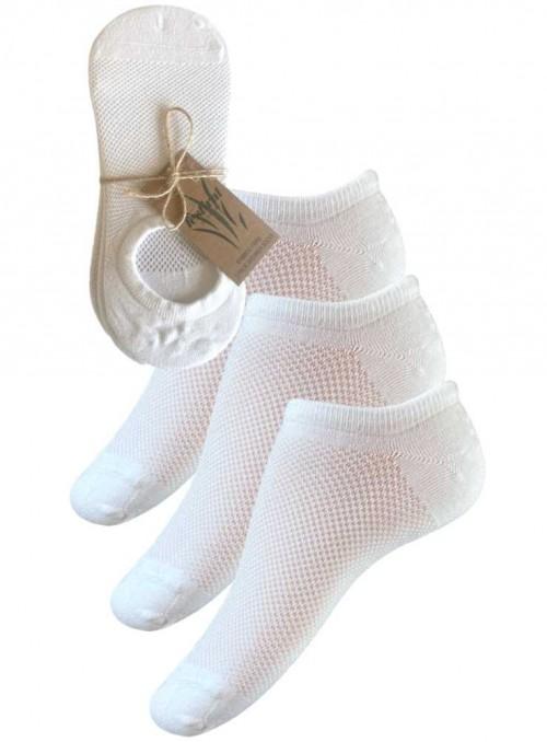3 PAK bambus sneakers-strømper, bambusstrømper footies hvide fra Festival